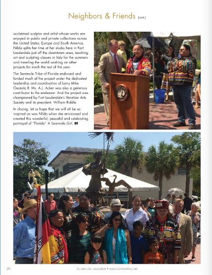Rio Vista Article about Florida Statue
